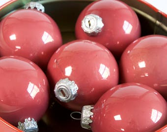 Vintage Glass Christmas Ornaments - Mauve Red - Lot of six - West Germany
