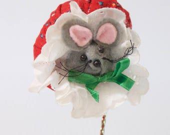Vintage Mouse Ornament - Gray Felt Mouse Christmas ornament
