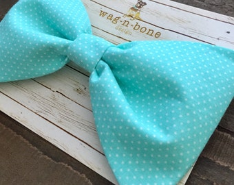 Canine bow tie, doggie bow tie, light blue,  small white polka dot, dog bow tie