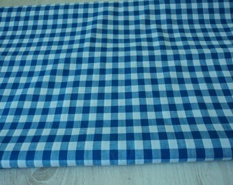 Vintage blue and white gingham material / fabric 4.4 metres (04587)