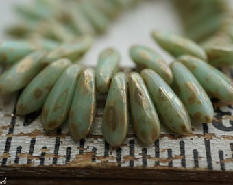 Picasso Green, Dagger Beads, Czech Beads, Beads, N2241