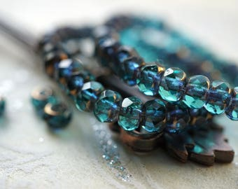 Teal Bliss, Rondelle Beads, Czech Beads, Beads, N2372