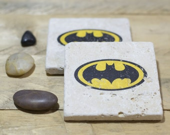 Batman Coasters - Set of 2 or 4 - Natural Stone Coasters - Rustic Home Decor - Superhero - Decorative Tile - Gifts for Him - Gifts for her