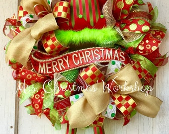 Christmas wreath, elf wreath with legs, deco mesh wreath, elf wreath, Christmas elf