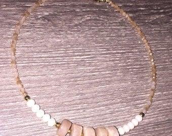 Beige Beaded Choker Necklace