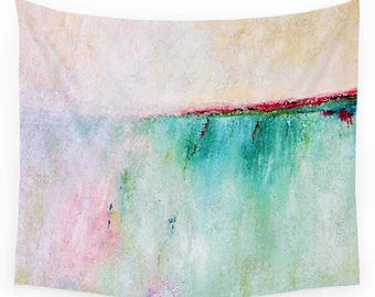 Pink Wall Tapestry, Turquoise Tapestry, Teal Wall Decor, Abstract Tapestry, Art Tapestry, Coastal Decor, Beach Tapestry, Modern Wall Decor