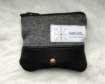 GHOST ID/Coin Purse: Heather Gray & Black