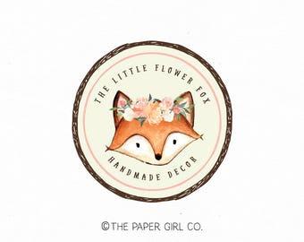 fox logo woodland logo design premade photography logo party logo design event planner logo boutique logo design sewing shop logo watermark