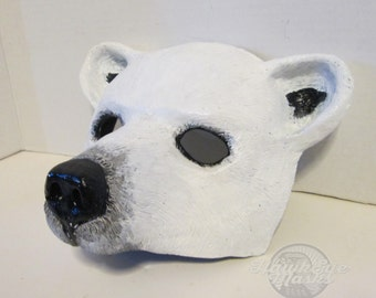 Polar Bear costume mask, Bear mask, wildlife, zootopia cosplay, Animal, animal totem, white bear, hand painted, masquerade mask, spirit mask