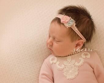 Newborn, Newborn Headband, Floral Headband, Knit Headband, Rose Headband, Baby Girl Prop, Newborn Photography, Newborn Prop