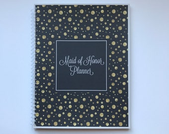 Maid of Honor Planner, Bridal Shower Planner, Bachelorette Bash Planner, Maid of Honor Checklist, Wedding Planner - Black with Gold foil