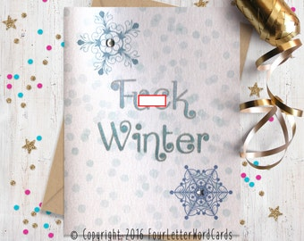 Mature Funny Holiday Card, Funny Greeting Card, Funny Christmas Card, Blank Holiday Card, Holiday Cards, FourLetterWordCards
