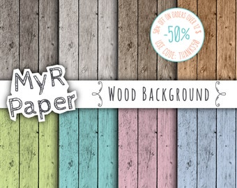 "Wood digital paper: ""WOOD BACKGROUND"" with wood patterns, wood texture, rustic wood, wood scrapbook paper in Pink, Green, Blue, Turquoise"