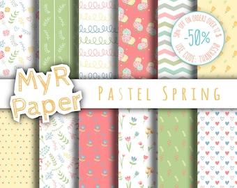"Digital paper doodle flowers: ""Pastel Spring"" patterns for scrapbooking, invite, card – flower, bloom, blossom, tulip, leaf, floral, dots"