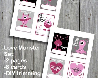 Printable Valentine's Cards - Love Monsters - Instant Download