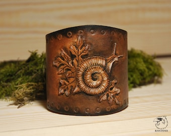 Leather stamped bracelet Snail