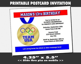 Olympic Medal Party Invitation, Printable, Birthday Party, Olympic Medal Invites, Sports Theme