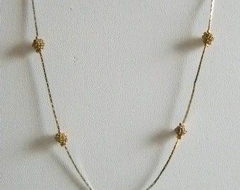 Gold Tone Nugget Chain Necklace