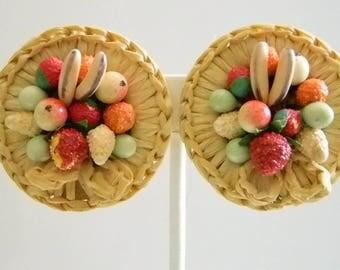 Vintange Round Weaved Basket Tropical Fruit Clip Earrings