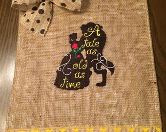 Beauty and Beast Burlap Garden Embroidered Personalized Flag Door Hanger Girls Room Pennant