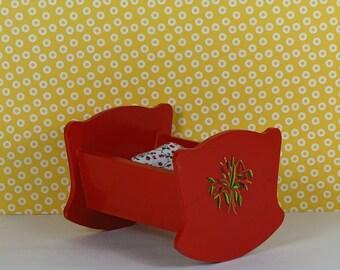 Doll vintage cradle crib bassinette 1950s furniture wooden red
