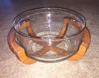Vintage glass salad bowl with teak cradle base