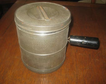 Vintage large metal DUPLEX 5 CUP flour sifter with black handle 1940's ***Free Shipping