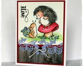 Cute Animal Card, Valentines Card, Penny Black Card, Hedgehog Card, Cute Critters, All Occasion Card, Garden Critters Card, Watercolored