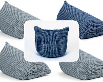 set of 4 BEAN BAGS and 1 cat POUF special for Sarah
