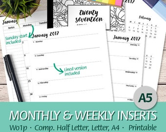 A5 - 2017 Week on One Page, Month On Two Pages, Weekly Planner, Wo1P, Mo2P, Half Letter, Letter, A4 - Printable Planner Insert, PDF