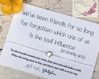 Wish bracelet, friendship bracelet, best friend gift, funny card for a friend, star bracelet, funny gift for her, friend gift