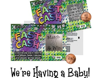 pregnancy announcement cards, surprise pregnancy announcement, scratch ticket, lotto replica