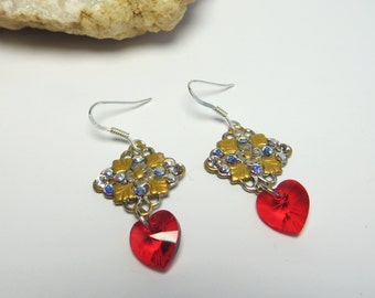 Red Crystal Dangle Earrings Romantic Gift For Her Red Heart Earrings Sterling Silver Red Earrings Valentines Earrings Mothers day Gift