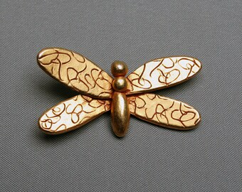 Vintage SONIA RYKIEL butterfly brooch, Golden tone metal insect shape jewel, Logo signature intials SR pin, Paris, France