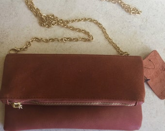 New Suede Fold Over Clutch