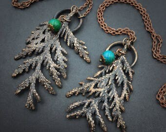 Cedar Leaf Necklace | Electroformed Leaf