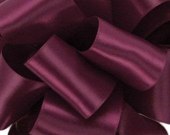 "New 5 yards Double Faced Wine Satin Ribbon 7/8"", Burgundy Satin Ribbon 7/8"""