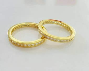 thin gold plated stacking eternity band ring, white zircons, gold vermeil, 925 sterling silver