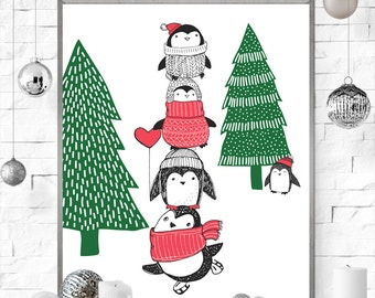 Penguins Christmas art print red white green winter snow  printable poster instant download 8 x 10 modern contemporary art print home decor
