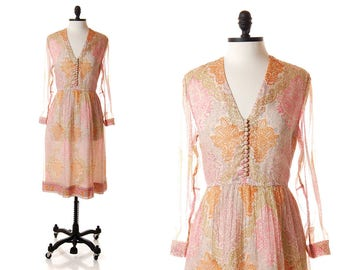 Vintage Treacy Lowe India Silk Dress / 1970s Pink Sheer Hippie Dress / 70s Pastel Paisley Boho Festival Dress / Small