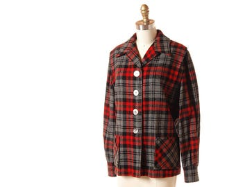 Vintage Pendleton 49er Jacket / 1950s Red & Gray Plaid Wool Jacket / Vintage 50s Womens Shirt Jacket / Large