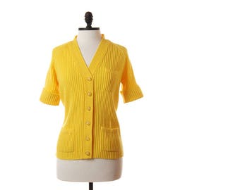 Vintage Yellow Cardigan / 1970s Yellow Short Sleeve Sweater / 70s Womens Ribbed Button Up Sweater / Small
