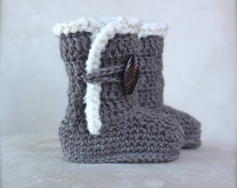 Crochet Ugg Boots for baby/infant, Natural Brown