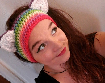 Crochet Rainbow Kitty Ear Warmers
