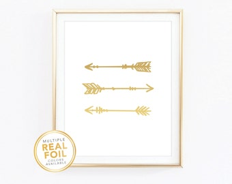 Tribal arrows print, tribal print with gold foil, tribal theme, arrow print, home decor, bedroom decor, office decor