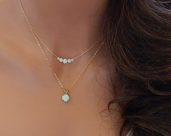 Opal Pendant Necklace • White Opal • Gift for Girlfriend • Her • Sister • Mom • October Birthstone • Beaded Opal [8-345]