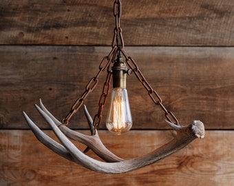 The Durango Chandelier - Antler Pendant Light - Rustic Chain Antler Shed Lamp - Hanging Ceiling lighting Fixture -Edison Bulb