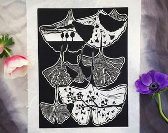 Ginkgo Leaf Print - Linocut - Fine Art Print
