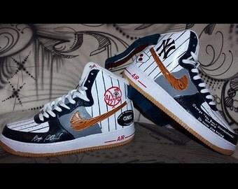 "Custom painted Nike Air Force 1 High ""NY Yankees"" theme handpainted Sneaker Art"