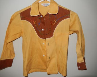 Child Western Style Button Down Shirt - Measurement Below